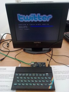 A ZX Spectrum running a Twitter feed. Image copyright jointly claimed by P Thomas and Colin Bell.