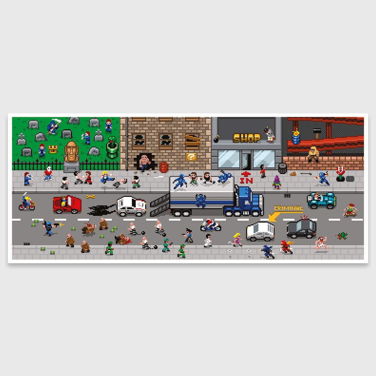 Pixel art print: Retro Road